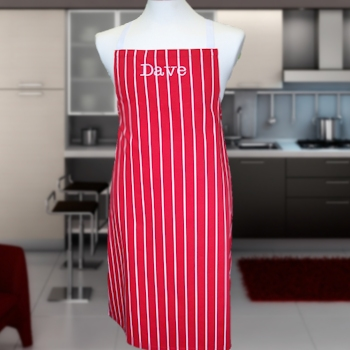 Butchers Apron Red Stripe Personalised Apron