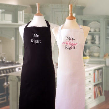Wedding Anniversary Aprons Mr and Mrs Right Black White Apron Set