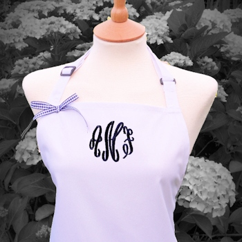 Ladies Personalised Apron Swirl Initials White and Navy