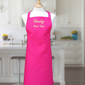 Personalised Apron Ladies Pink Apron Embroidered Name