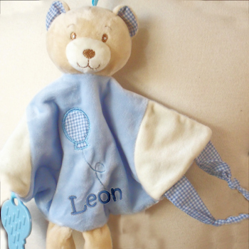Boys Bear Comforter Tactile Teether Blankie