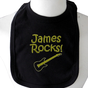 Personalised Bib Black Cotton Baby Bib with Embroidery