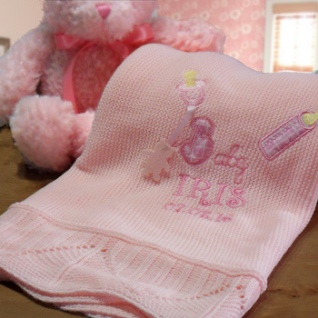Personalised Baby Shawl Baby Girls Pink Knitted Shawl