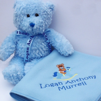 e6f95201f0e40 Baby Boy Birth Gift Personalised Teddy and Blanket