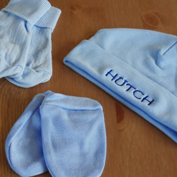 Personalised Baby Hat Set Blue Hat Mitts Socks Gift
