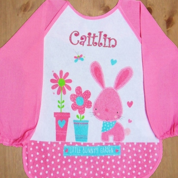 Personalised Baby Bib Sleeved Pink Bunny
