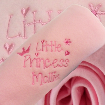 Personalised Baby Blanket Pink Embroidered Girls Little Princess Wrap