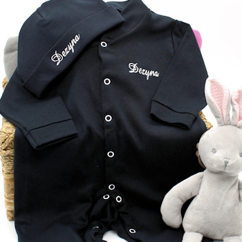 Personalised Babygrow Black Hat and Sleepsuit