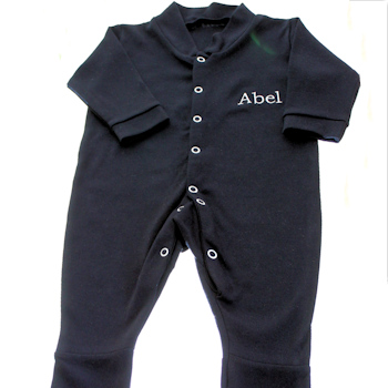 Black Sleepsuit Personalised longsleeve Babygrow