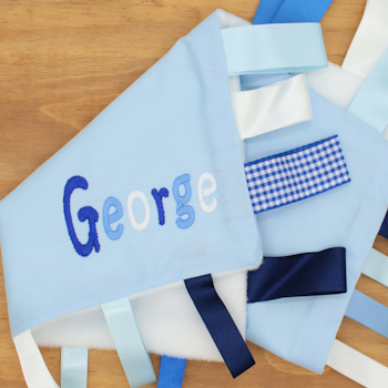 Personalised Comforter Baby Blue Ribbon Taggy