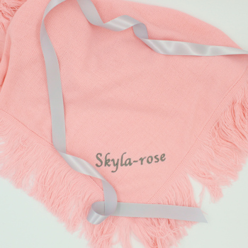 Personalised Baby Shawl Pink Christening Blanket