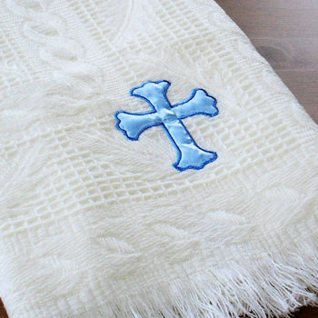 Christening Shawl Cream Shawl Personalised Blue Cross