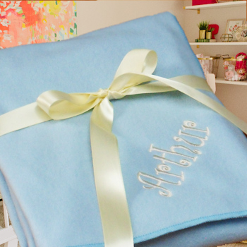 Personalised Pram Fleece Baby Boys Blue Blanket