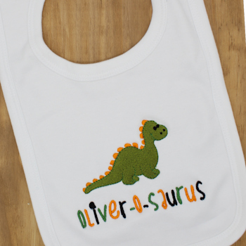 Personalised Bib Embroidered Dinosaur Baby Bib
