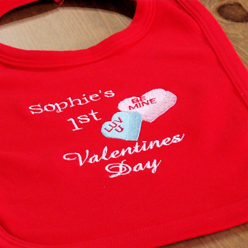 First Valentines Bib Love Hearts 1st Baby Bib