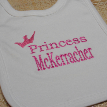 Princess Bib Personalised Cotton Baby Bib