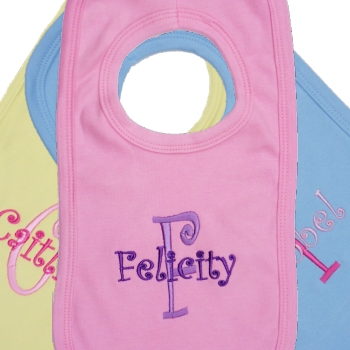 Embroidered Bib Babies Name and Initial