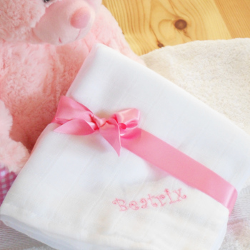 Personalised Muslin Squares White Cotton Muslin Set