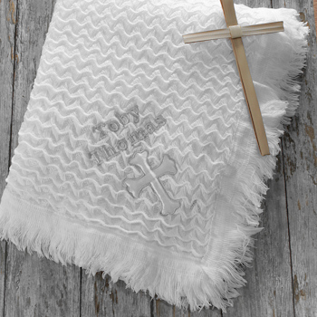 Personalised Christening Shawl Baby Cross Blanket