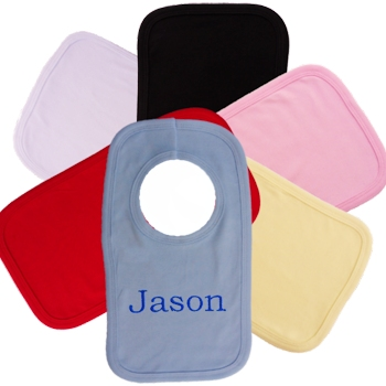 Personalised Baby Bib Cotton Bibs Embroidered with Name