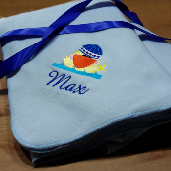 Personalised Baby Blanket - Lt Blue Polar Fleece