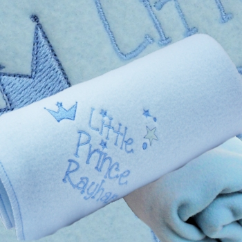 Personalised Baby Blanket Blue Embroidered Boys Little Prince Wrap