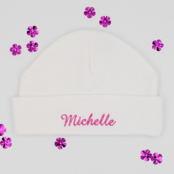 Personalised Baby Hat White Cotton Baby Hat