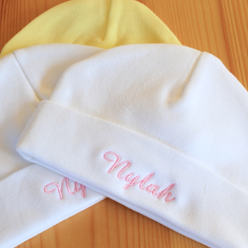 Premature or Newborn Baby Hat Personalised White Jersey Hat