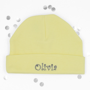Personalised Baby Hat Yellow Cotton Jersey Hat