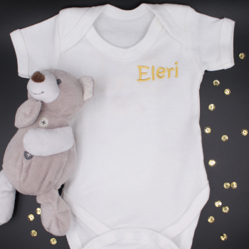Personalised Baby Vest Babies White Bodysuit Embroidered