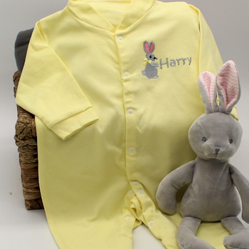 Personalised Yellow Sleepsuit Bunny Rabbit Embroidery Babygrow