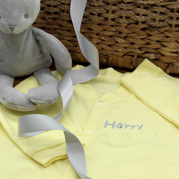 Personalised Baby Sleepsuit Yellow Cotton Sleepsuit