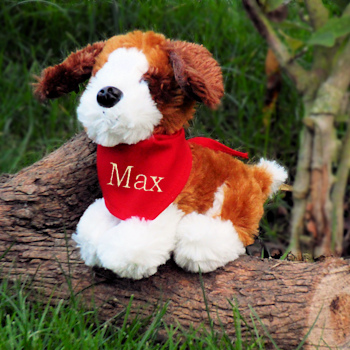 Personalised Puppy Dog Soft Toy with Bandana