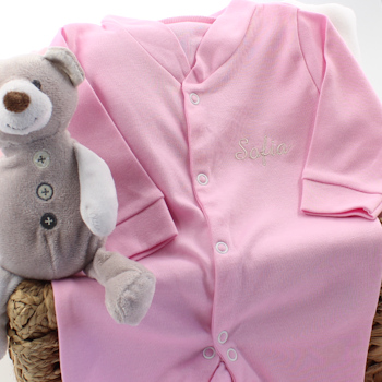 Personalised Sleepsuit Baby Pink Babygrows