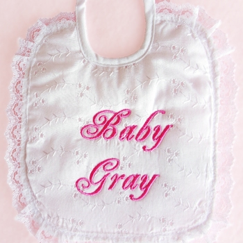 Personalised Baby Bib Lace Christening Celebration Bib