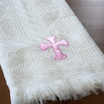 Christening Shawl Cream Shawl Personalised Pink Cross