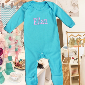 Personalised Baby Grows Teal Onesie Romper Suit