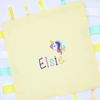 Baby Comforter Yellow Personalised Unicorn Taggy