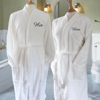His and Hers Robes Personalised White Cotton Robes Gift Set