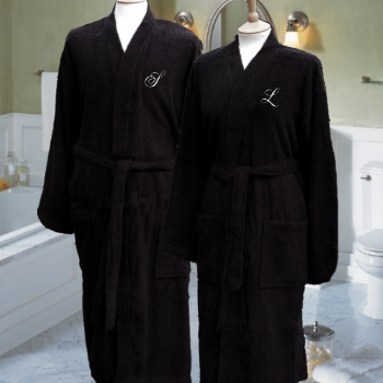 Monogrammed Bathrobes Embroidered Black Robes