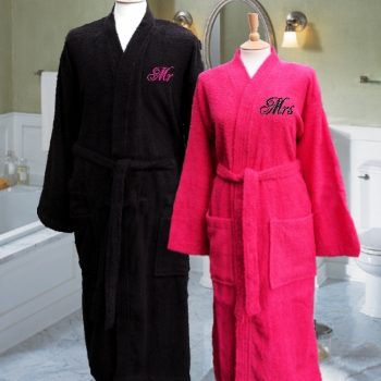 7b5ef437e4 Monogrammed pair terry cotton robes in black and hot pink.