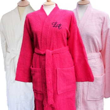 Personalised Bathrobe Ladies Hot Pink Cotton Robe