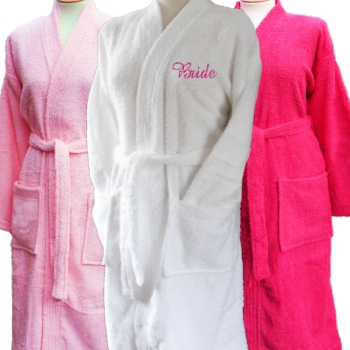 5c3c02e129 White terry cotton bathrobe embroidered with a name or initials of your  choice.