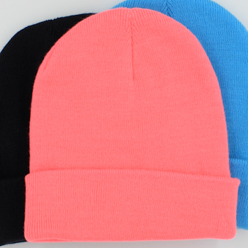 Personalised Beanie Hat Flourescent Pink Cuffed Hat
