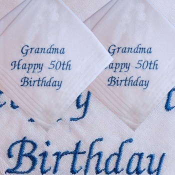Embroidered Hankies Birthday Message Pair of Handkerchiefs