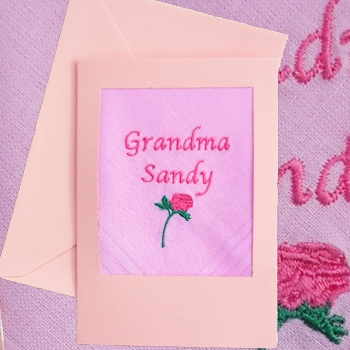 Embroidered Card Personalised Pink Handkerchief Card