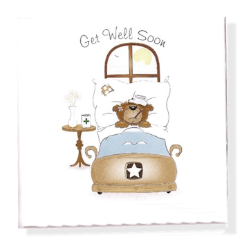 Get Well Soon Card Teddy Bear Notecard