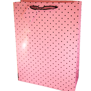 Gift Bag Pink with Black Polka Dots Extra Large Cards & Wrap