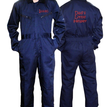 Childrens Personalised Overalls Coveralls Navy 6-7 yrs