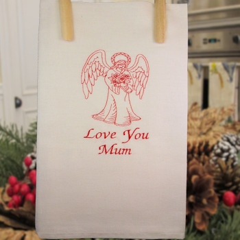 Angel Tea Towel<br>Embroidered Personalised Kitchen Towel
